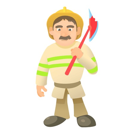 Firefighter with axe icon. Cartoon illustration of firefighter with axe vector icon for web