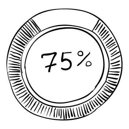 pointed arrows: Percent showing infographics. Hand drawn illustration of percent showing vector infographics for web