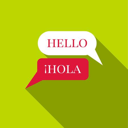 Speaking spanish icon. Flat illustration of speaking spanish vector icon for web Illustration