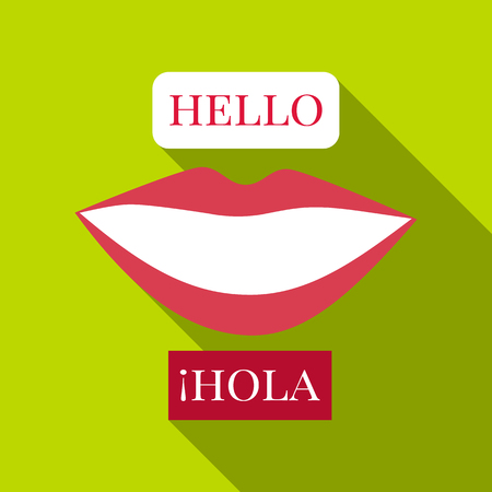 pronunciation in letters: Speaking launguage icon. Flat illustration of speaking launguage vector icon for web Illustration