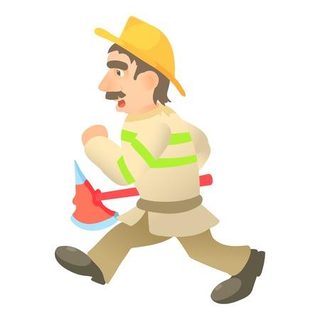 Running firefighter icon. Cartoon illustration of running firefighter vector icon for web