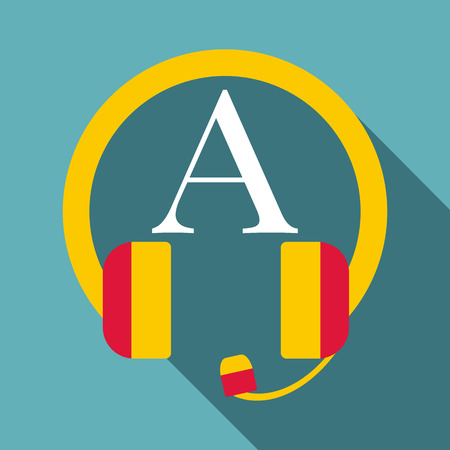pronunciation in letters: Listening icon. Flat illustration of listening vector icon for web
