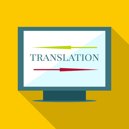 pronunciation in letters: Computer translation icon. Flat illustration of computer translation vector icon for web Illustration