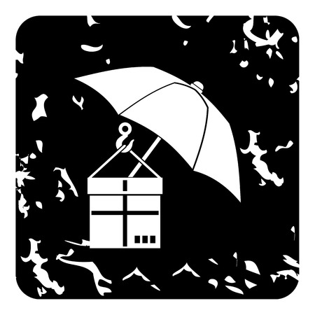 gift accident: Parcel insurance icon. Grunge illustration of parcel insurance vector icon for web Illustration