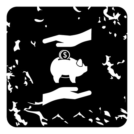 penny: Money or savings insurance icon. Grunge illustration of money or savings insurance vector icon for web
