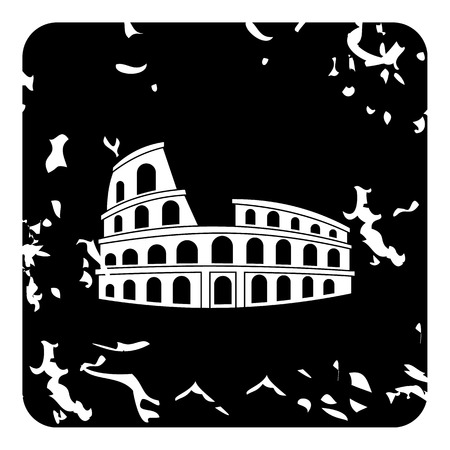 Roman Colosseum icon. Grunge illustration of Roman Colosseum vector icon for web