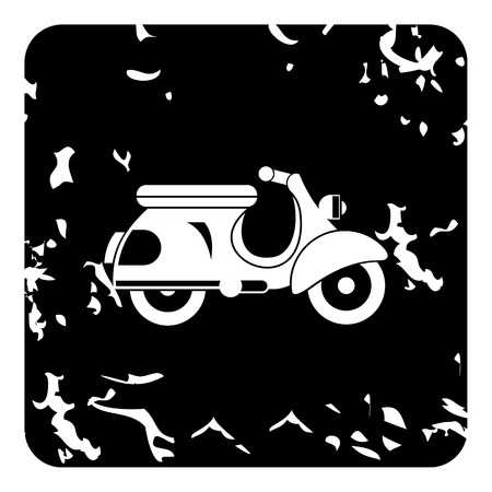 a white police motorcycle: Scooter motorbike icon. Grunge illustration of scooter motorbike vector icon for web Illustration