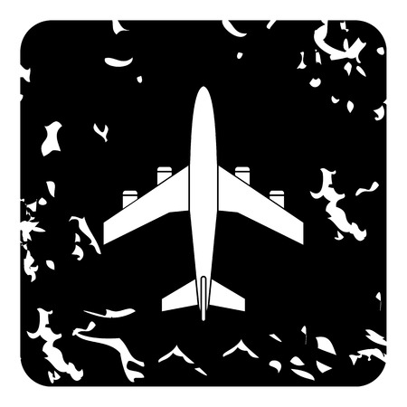 fuselage: Airplane icon. Grunge illustration of airplane vector icon for web