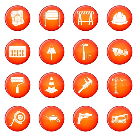 constraction: Architecture icons vector set of red circles isolated on white background