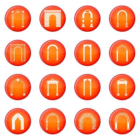 Arch set icons vector set of red circles isolated on white background Illustration