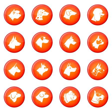 Dog icons vector set of red circles isolated on white background Illustration