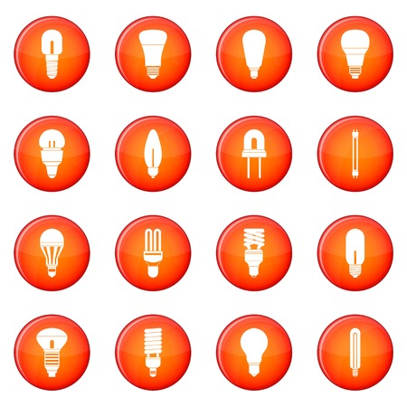 Light bulb icons vector set of red circles isolated on white background