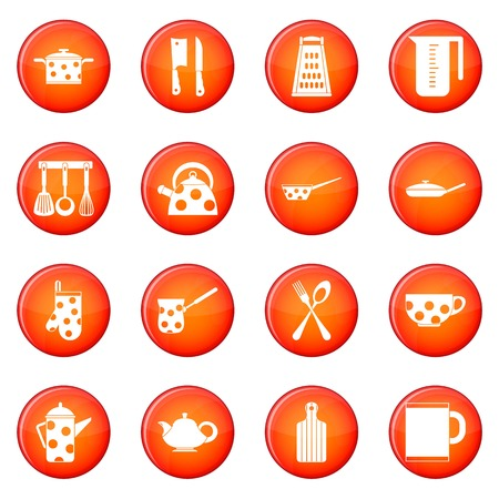 Kitchen tools icons vector set of red circles isolated on white background Illustration