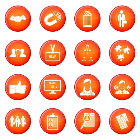 relate: Human resource management icons vector set of red circles isolated on white background