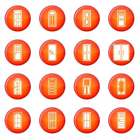Door icons vector set of red circles isolated on white background