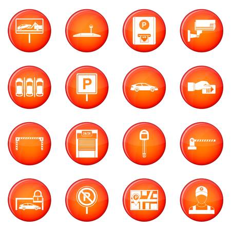 warden: Car parking icons vector set of red circles isolated on white background