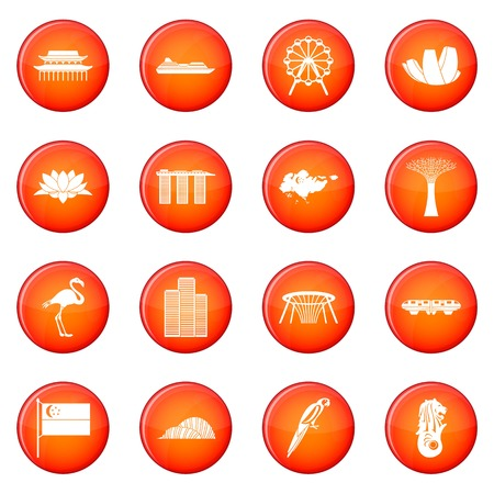 Singapore icons vector set of red circles isolated on white background