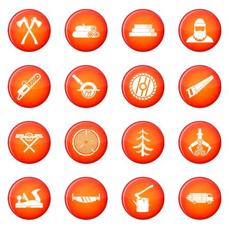 Sawmill icons vector set of red circles isolated on white background
