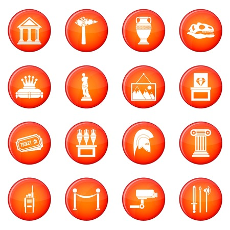 artifact: Museum icons vector set of red circles isolated on white background