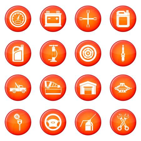 Car maintenance and repair icons vector set of red circles isolated on white background Stock Vector - 69562266