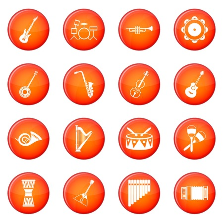 Musical instruments icons vector set of red circles isolated on white background Illustration