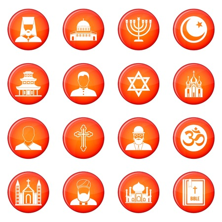 rabbi: Religion icons vector set of red circles isolated on white background Illustration