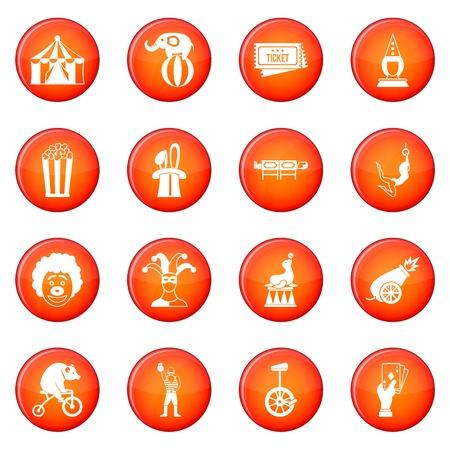 Circus Entertainment Icons Vektor-Set von roten Kreisen isoliert auf weißem Hintergrund