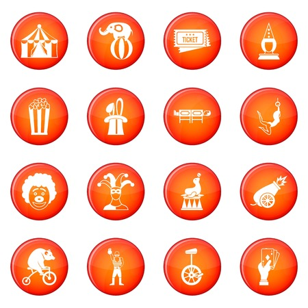 Circus entertainment icons vector set of red circles isolated on white background Illustration