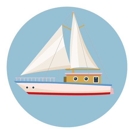 Speed boat with sail icon. Cartoon illustration of boat with sail vector icon for web design