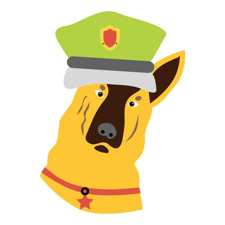 hardy: Police dog icon. Flat illustration of police dog vector icon for web design
