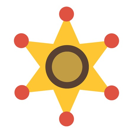 shinning: Gold star of sheriff icon. Flat illustration of gold star of sheriff vector icon for web design