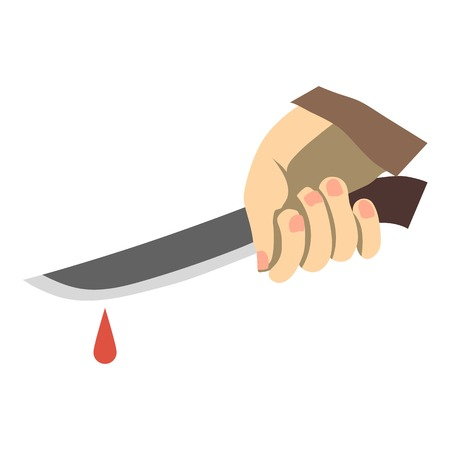 carnage: Hand holding knife with blood icon. Flat illustration of hand holding knife with blood vector icon for web design Illustration