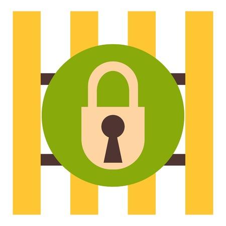 Iron bars door with padlock icon. Flat illustration of iron bars door with padlock vector icon for web design