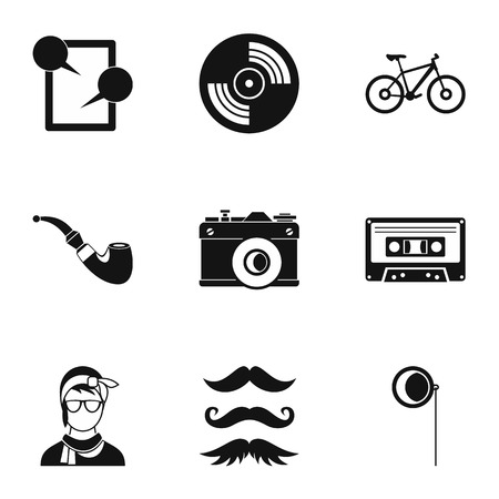 subculture: Subculture hipsters icons set. Simple illustration of 9 subculture hipsters vector icons for web