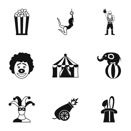 top gun: Circus chapiteau icons set. Simple illustration of 9 circus chapiteau vector icons for web