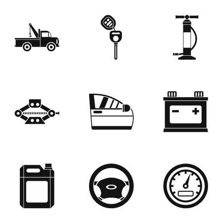 repairs: Car repairs icons set. Simple illustration of 9 car repairs vector icons for web