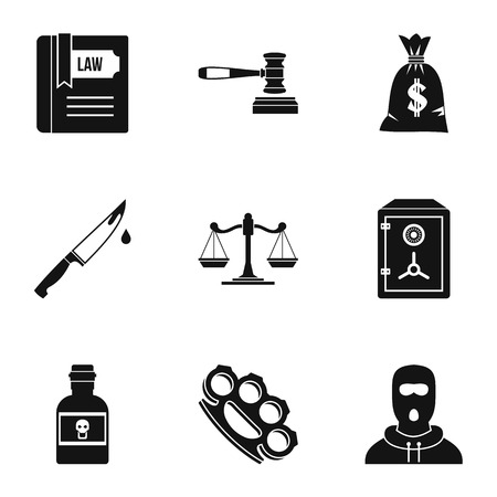 robbery: Robbery icons set. Simple illustration of 9 robbery vector icons for web Illustration