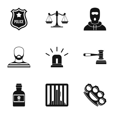 lawlessness: Lawlessness icons set. Simple illustration of 9 lawlessness vector icons for web Illustration