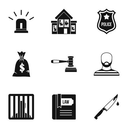 delito: Iconos de delitos. El ejemplo simple de los iconos del vector 9 ofensa para web