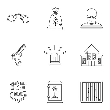 robbery: Robbery icons set. Outline illustration of 9 robbery vector icons for web