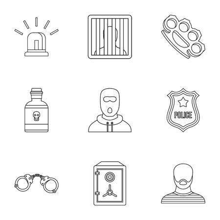 Lawlessness icons set. Outline illustration of 9 lawlessness vector icons for web