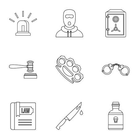 delito: Iconos de delitos. Ilustración del esquema de iconos del vector 9 ofensa para web Vectores