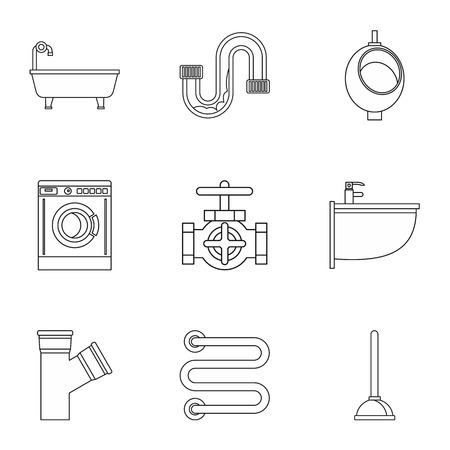 cold room: Equipment for bathroom icons set. Outline illustration of 9 equipment for bathroom vector icons for web