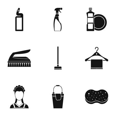 besom: House cleaning icons set. Simple illustration of 9 house cleaning vector icons for web