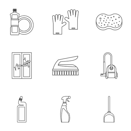 besom: House cleaning icons set. Outline illustration of 9 house cleaning vector icons for web Illustration