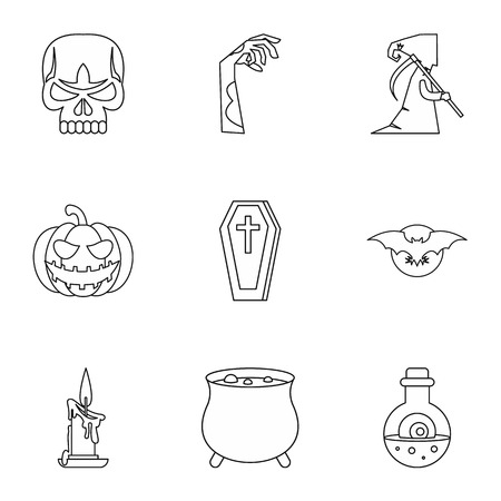 all saints day: All saints day icons set. Outline illustration of 9 all saints day vector icons for web