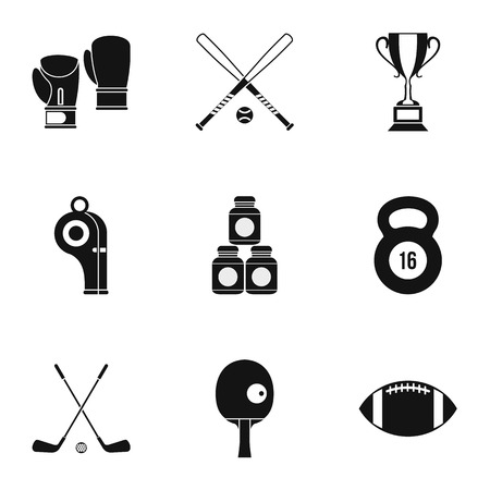 baseball stuff: Sports stuff icons set. Simple illustration of 9 sports stuff vector icons for web