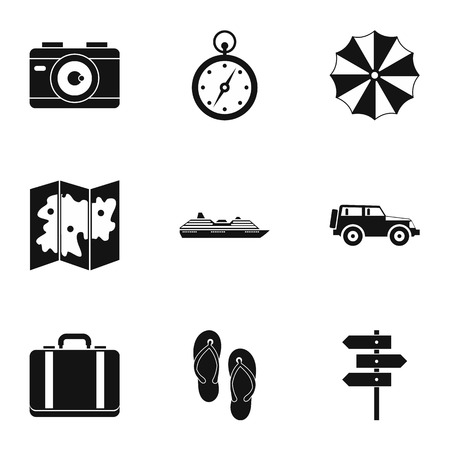 brolly: Tourism at sea icons set. Simple illustration of 9 tourism at sea vector icons for web