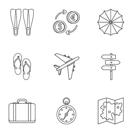 brolly: Journey to sea icons set. Outline illustration of 9 journey to sea vector icons for web