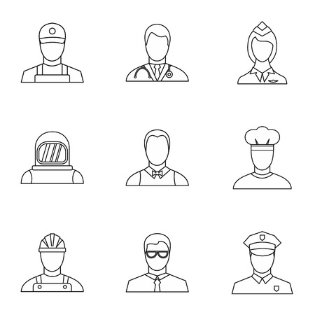 specialty: Specialty icons set. Outline illustration of 9 specialty vector icons for web